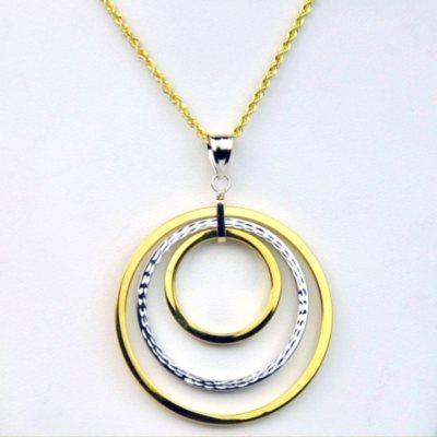 Two-Tone Triple Hoop Necklace & Earring Set, 925 Silver & 14k Yellow Gold