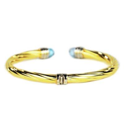 Le Twist Blue Topaz & 14K Gold Bangle Bracelet, 925 Sterling Silver