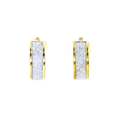 14K Yellow Gold & .925 Sterling Silver Hoop Earrings with Glitter.  Ends: Aug 30, 2015 6:55:00 AM CDT