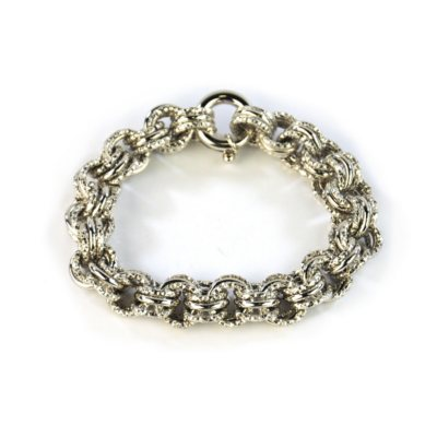 Double Link Diamond Cut Bracelet, 925 Sterling Silver.  Ends: Oct 2, 2014 6:05:00 AM CDT