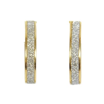 14K Yellow Gold Glitter Oval Hoops.  Ends: May 25, 2016 12:00:00 PM CDT