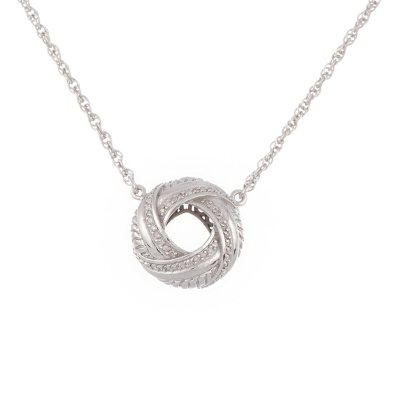"""Love Knot Pendant with Diamonds and 18"""" Adjustable Chain In Sterling Silver.  Ends: Mar 31, 2015 6:25:00 AM CDT"""