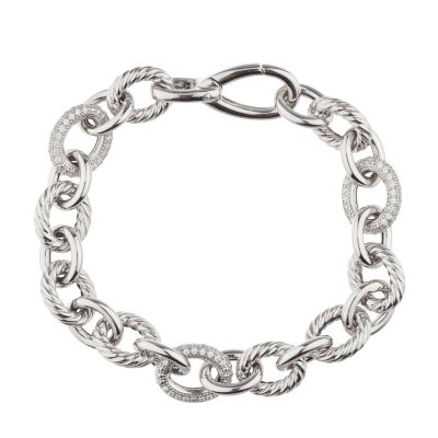 Italian Link Bracelet with Diamonds In Sterling Silver.  Ends: Mar 31, 2015 2:00:00 AM CDT