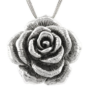 Sterling Silver Electroform Rose Pendant