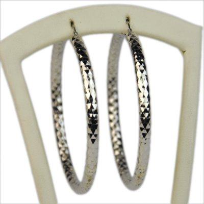 59mm Diamond Cut Hoop Earrings in Sterling Silver.  Ends: Apr 18, 2015 4:00:00 PM CDT