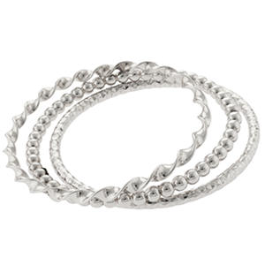 Sterling Silver Set of 3 Stackable Bangles