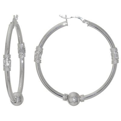 Sterling Silver 40mm Bali Hoop Earrings