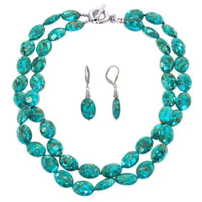 Turquoise and Sterling Silver Oval Necklace and Earring Set.  Ends: Oct 21, 2014 11:00:00 PM CDT