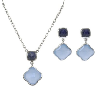 Amena K Chalcedony & Lapis Set in Sterling Silver.  Ends: May 25, 2016 5:00:00 PM CDT