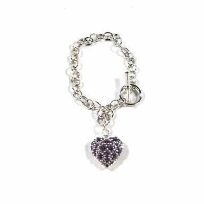 .925 Sterling Silver Amethyst Heart Bracelet