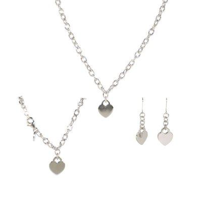 .925 Sterling Silver Heart Tag Pendant, Earring & Bracelet Set.  Ends: Sep 2, 2015 9:30:00 PM CDT