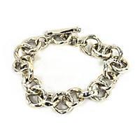 .925 Sterling Silver Hammered Link Bracelet