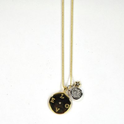 LOVE 14K Gold-Plated Disc Pendant with Diamonds, .04 ct. t.w.