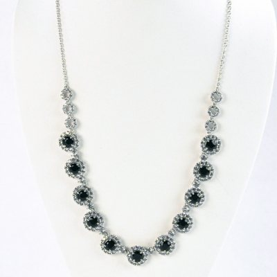 Onyx & Lab-Created White Sapphire Necklace in .925 Sterling Silver