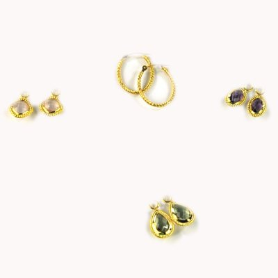 Multiple Gemstone Interchangeable Hoop Earrings in 14k Yellow Gold.  Ends: Oct 24, 2014 8:40:43 PM CDT