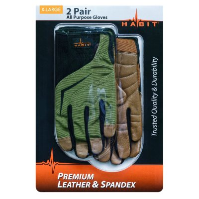Habit® X-Large Leather and Spandex All Purpose Work Glove, 2 Pack.  Ends: May 30, 2015 9:10:00 PM CDT