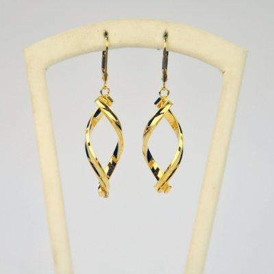 Dangle Drop Free Form Earrings, 14k Yellow Gold