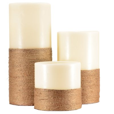 Decorative Jute Wrapped LED Pillar Candles, Vanilla (3 pc. Set).  Ends: Oct 31, 2014 5:00:00 AM CDT