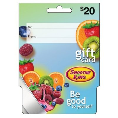 Smoothie King $40 Multi-Pack (2/$20 Gift Cards).  Ends: Dec 23, 2014 5:05:00 AM CST