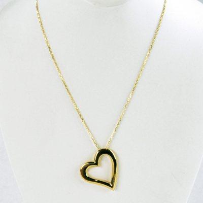 14K Yellow Gold Open Heart Pendant