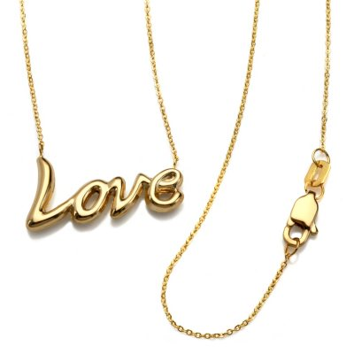"""18"""" 'Love' Script Element Necklace in 14K Yellow Gold.  Ends: Oct 30, 2014 4:00:00 PM CDT"""