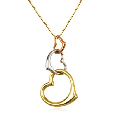 Tri-Color Graduated Triple Heart Interlinked Hollow Pendant in 14K Gold.  Ends: Oct 20, 2014 8:30:00 PM CDT