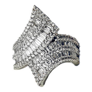 Diamond 14K White Gold Ring with Prong-set Round and Channel-set Baguette Diamonds (H-I, I1)