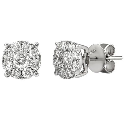 1.00 CT. TW. Round Cut Diamond Stud Earrings in 14K White Gold H-I, I1.  Ends: May 25, 2016 5:00:00 PM CDT