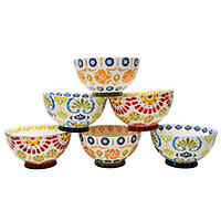 (Free Shipping) Artisan 6-Pack Hand-Painted Bowls