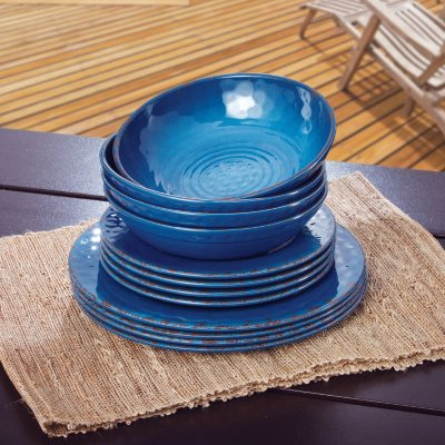 Melamine Dinnerware 12PC Set, Blue.  Ends: Jul 24, 2014 8:35:00 PM CDT