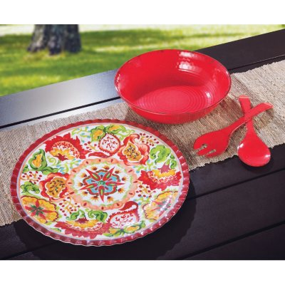 Melamine Serveware Set, Red.  Ends: Jul 23, 2014 1:10:00 AM CDT