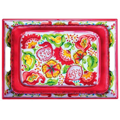 Melamine 3 Piece Serving Tray Set, Red.  Ends: Jul 31, 2014 3:20:00 PM CDT
