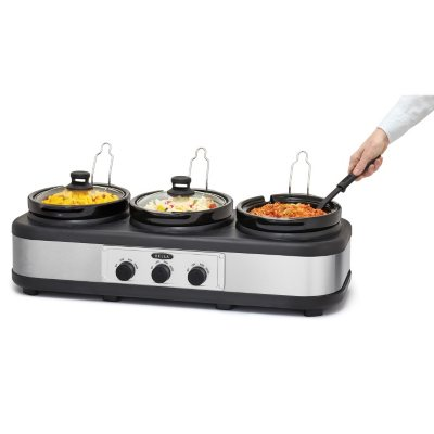 Bella Triple Slow Cooker, Stainless Steel.  Ends: Feb 8, 2016 9:20:00 PM CST