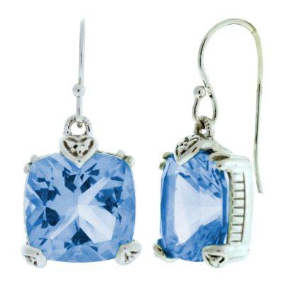 Judith Ripka Blue Quartz Cushion-Cut Earrings