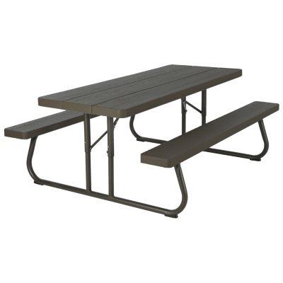 Lifetime 6' Folding Picnic Table, Faux Wood (Seats 8).  Ends: Jul 29, 2016 10:00:00 AM CDT