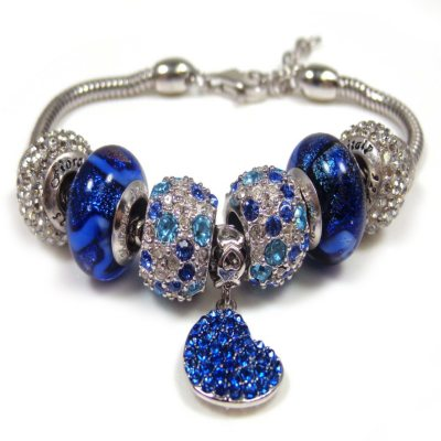 Blue Crystal/Murano Bracelet.  Ends: Oct 22, 2014 5:00:00 PM CDT