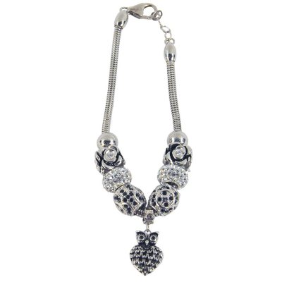 Black & White Owl Bead Bracelet in .925 Sterling Silver.  Ends: Nov 27, 2015 8:35:00 AM CST