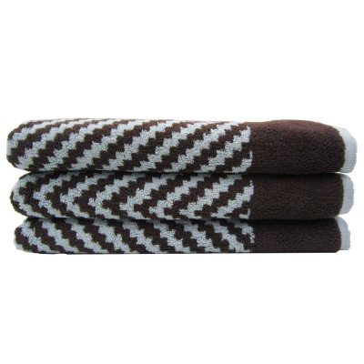 "Loft Fashion Bath Towel, Brown/Blue Chevron (30"" x 58"") - One Towel.  Ends: Sep 3, 2014 6:35:00 AM CDT"