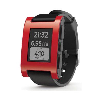 Pebble Smart Watch, Red.  Ends: Jul 27, 2016 8:40:00 AM CDT