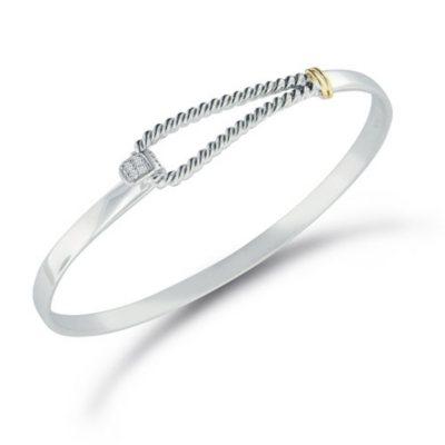 Diamond Accent Twist Bangle Bracelet in Sterling Silver & 14K Yellow Gold