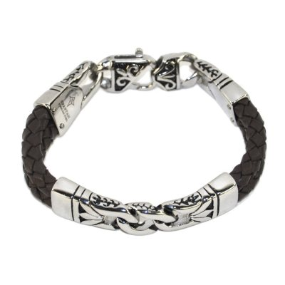 Gents Stainless-Steel & Brown Leather Bracelet.  Ends: Sep 3, 2015 5:20:00 AM CDT