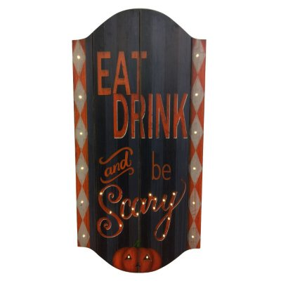 """Halloween Wooden """"Eat Drink And Be Scary"""" Wall Art With 30 Lights.  Ends: Nov 24, 2014 1:30:00 AM CST"""