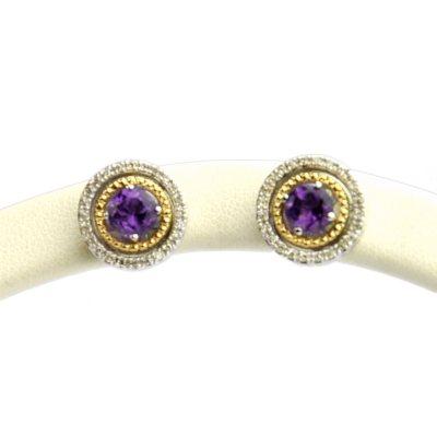 Amethyst & Diamond Earrings in Sterling Silver & 14K Yellow Gold.  Ends: Apr 19, 2015 12:00:00 AM CDT