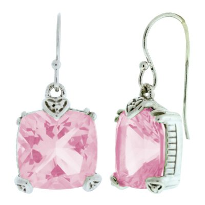 Judith Ripka Cushion-Cut Pink Crystal Earrings.  Ends: Oct 21, 2014 8:00:00 PM CDT