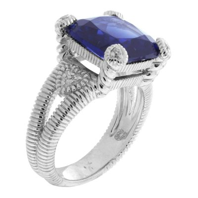 Judith Ripka Split Shank Lab-Created Blue Corundum Fontaine Ring in Sterling Silver - Size 7