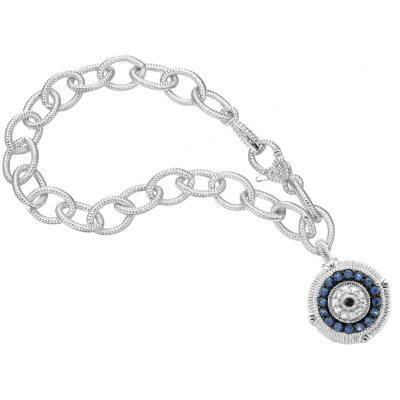 Judith Ripka Sapphire Evil Eye Charm Bracelet in Sterling Silver.  Ends: Oct 25, 2014 4:00:00 PM CDT