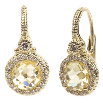 Judith Ripka Round Canary Crystal and Diamond Earrings in 14k Yellow Gold.  Ends: Jan 30, 2015 5:35:00 AM CST