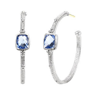 Judith Ripka Cushion-Cut Blue Quartz Hoop Earrings in Sterling Silver