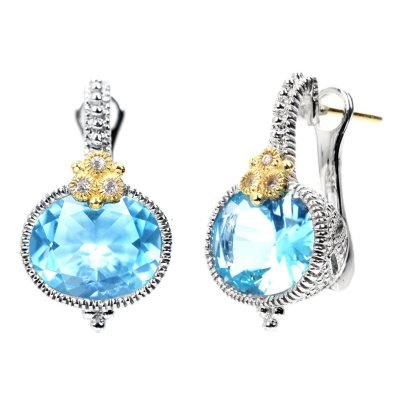 Judith Ripka's Estate Horizontal Oval Blue Topaz Earrings in Sterling Silver