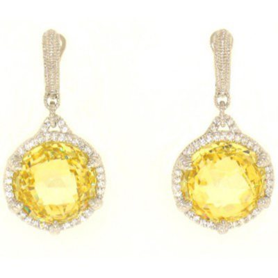 Judith Ripka Round Canary Crystal Earrings with Micro Pave White Sapphires in Sterling Silver.  Ends: Jan 30, 2015 7:00:00 AM CST